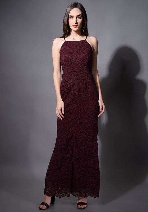 Wine Lace Mermaid Maxi Dress