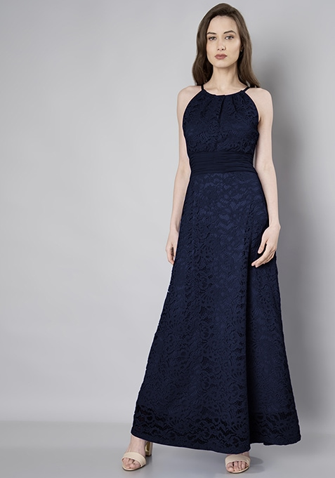 Navy Lace Ruched Waist Maxi Dress