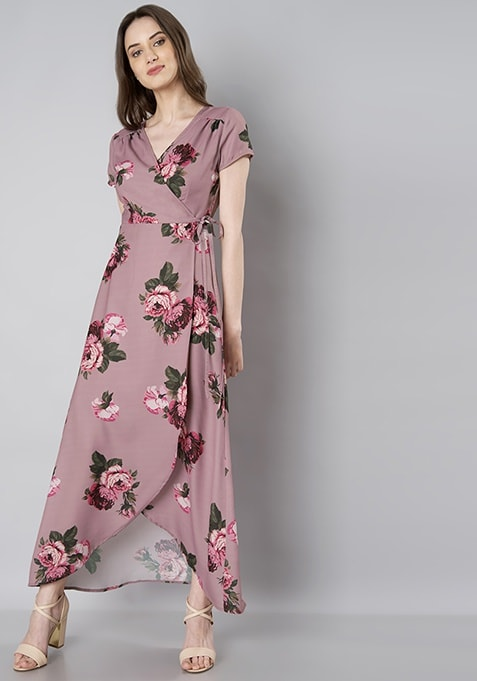Dusty Pink Floral Wrap Around Maxi Dress