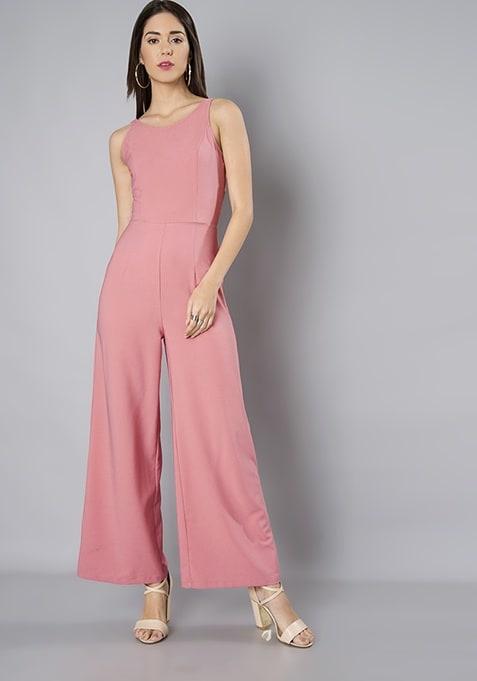 Pink Waist Cut Out Jumpsuit