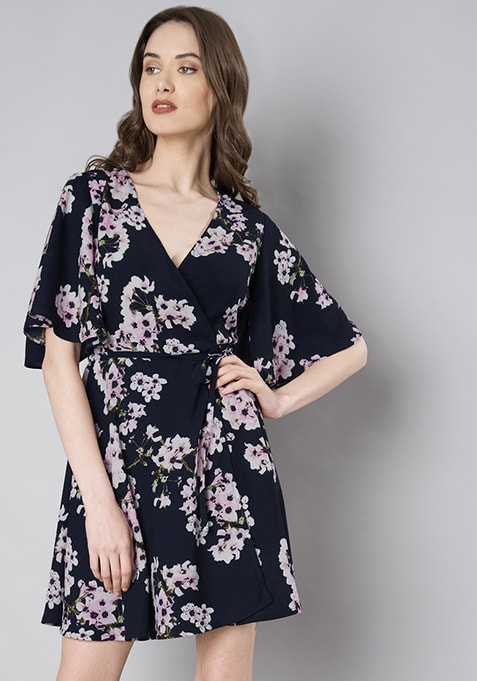 Navy Floral Flared Sleeve Wrap Dress