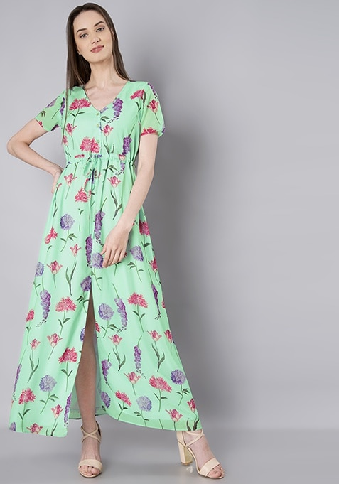 Mint Floral Front Slit Maxi Dress