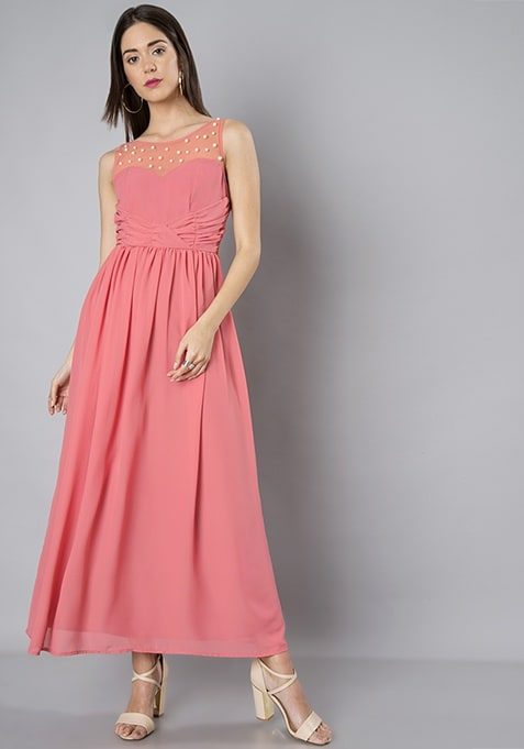 Pink Pearl Yoke Maxi Dress