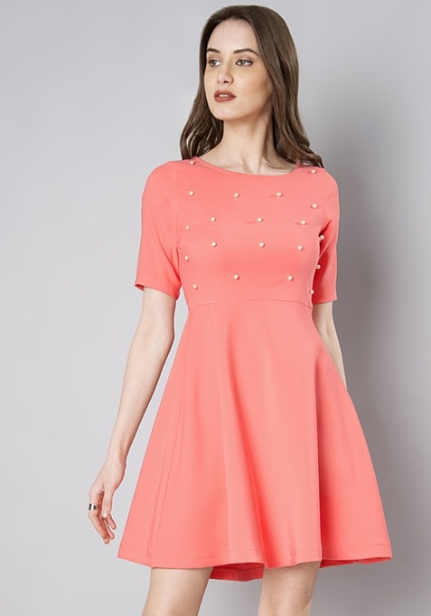 Blush Pearl Embellished Skater Dress