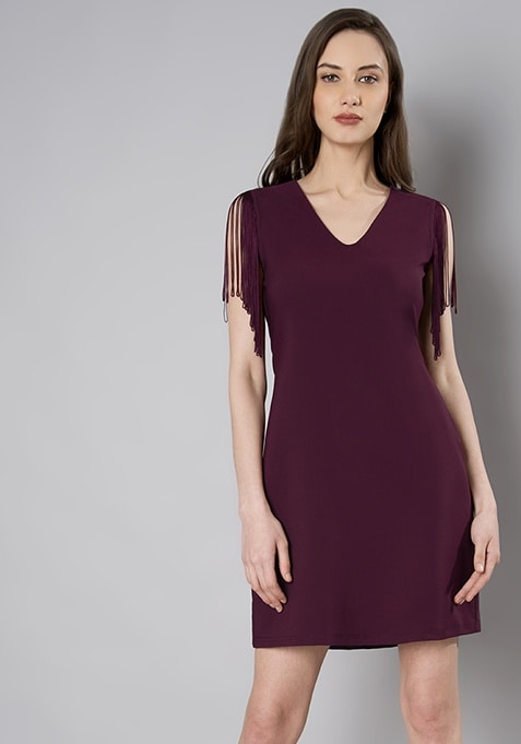 Wine Fringe Shoulder Mini Dress