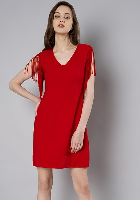 Red Fringe Shoulder Mini Dress