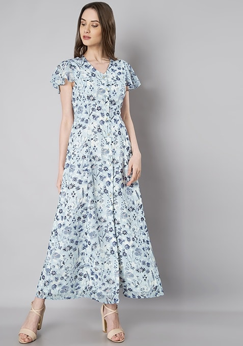Blue Floral Ruffle Sleeve Shirt Maxi Dress