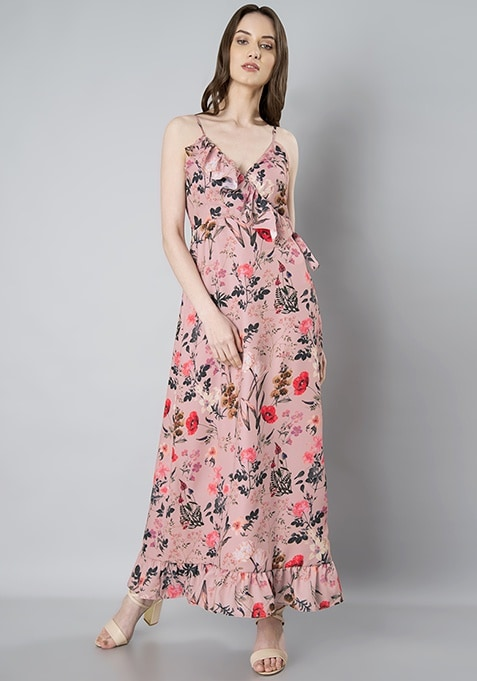 Dusty Pink Floral Ruffled Maxi Dress