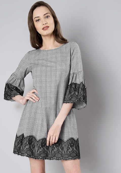 Black Check Lace Trim Shift Dress