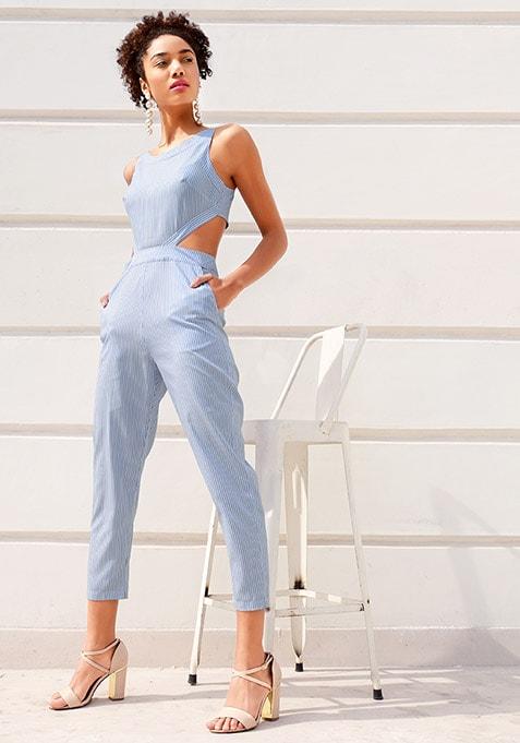 Blue Striped Waist Cut Jumpsuit