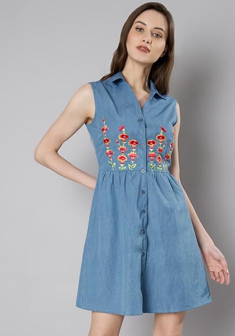 Denim Embroidered Mini Shirt Dress