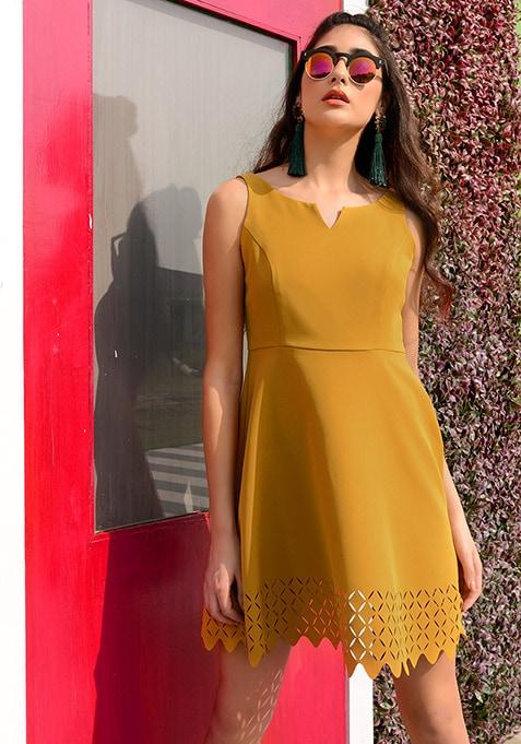 Mustard Cutwork Hem Skater Dress