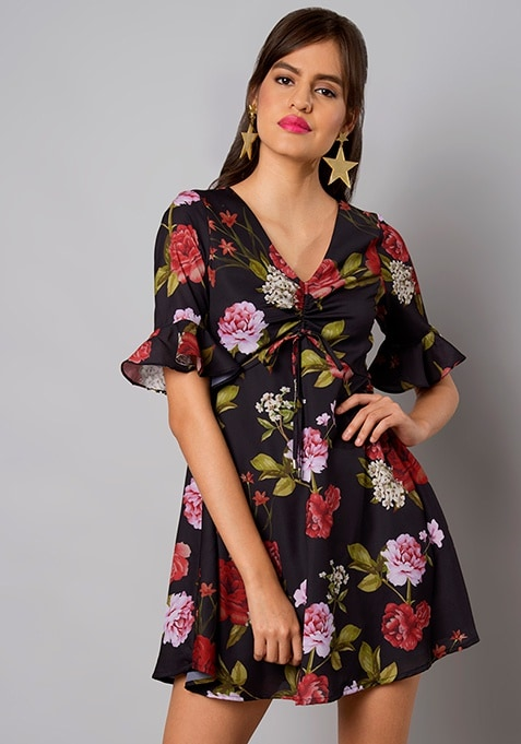 Black Floral Ruched Bell Sleeve Dress
