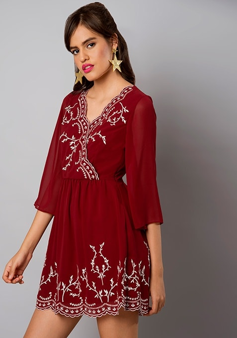 Oxblood Embroidered Georgette Wrap Dress