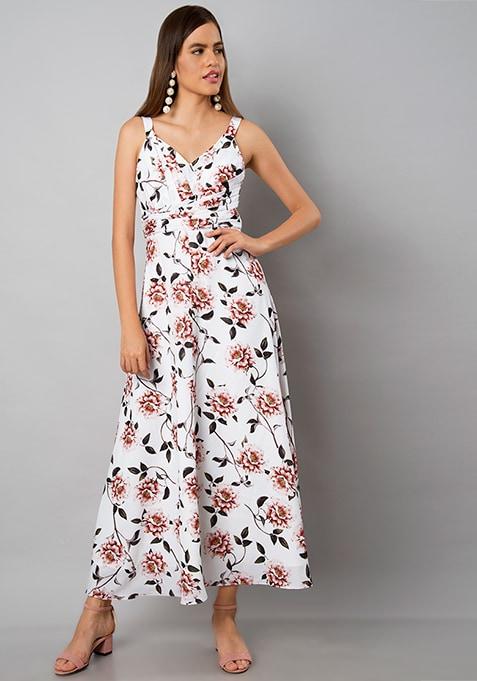 White Cross Pleat Maxi Dress