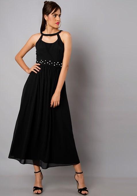 Black Pearl Embellished Georgette Maxi Dress