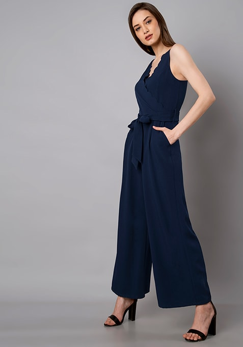 Navy Scallop Neck Belted Jumpsuit