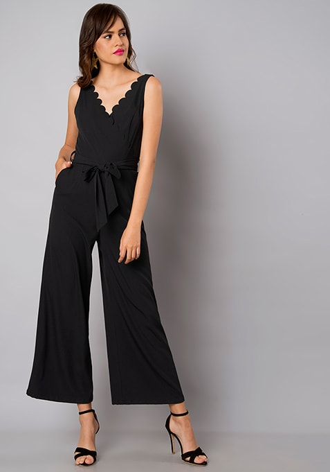 Black Scallop Neck Belted Jumpsuit
