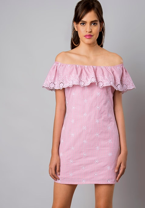 Pink Gingham Off-Shoulder Schiffli Dress