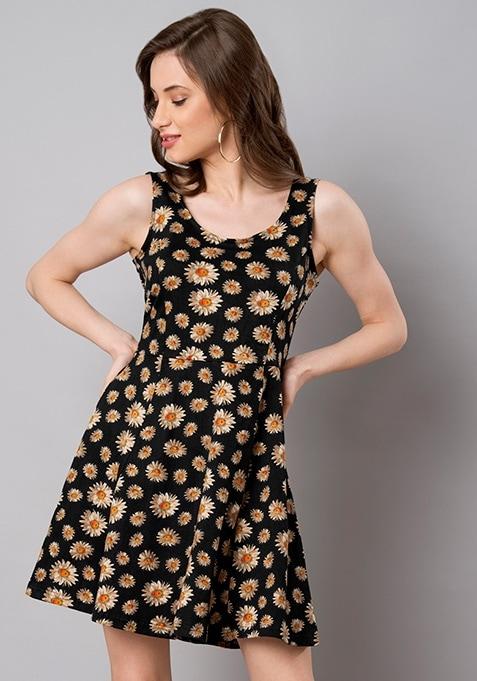 Yellow Daisy Jersey Skater Dress