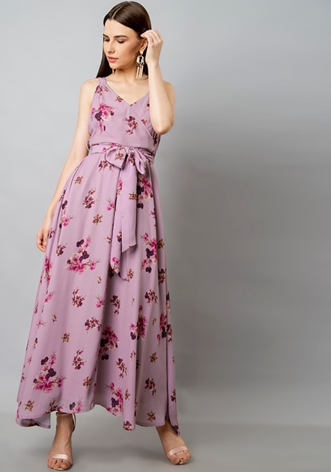 Pink Floral Belted Wrap Maxi Dress