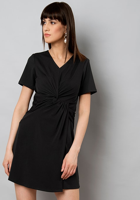 Black Drape Shift Dress