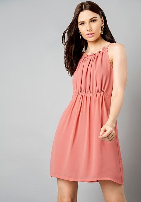 Pink Halter Skater Dress