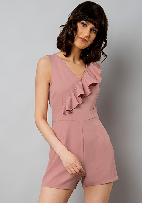 Pink Ruffled Front Playsuit