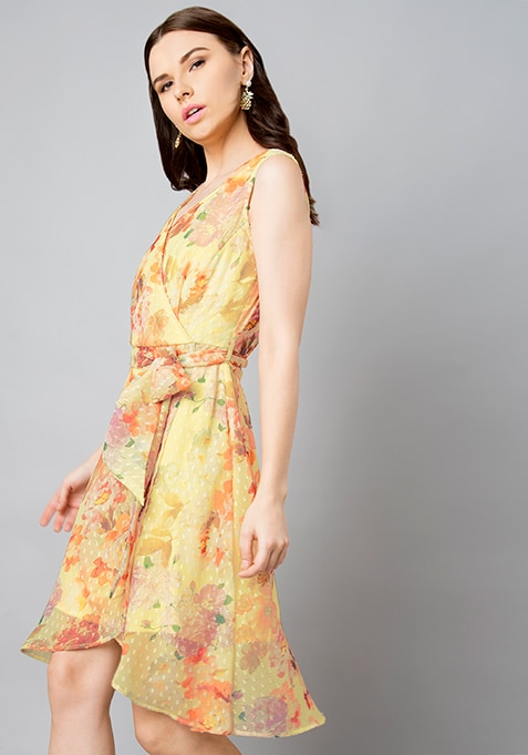 Yellow Floral Dotted High Low Dress