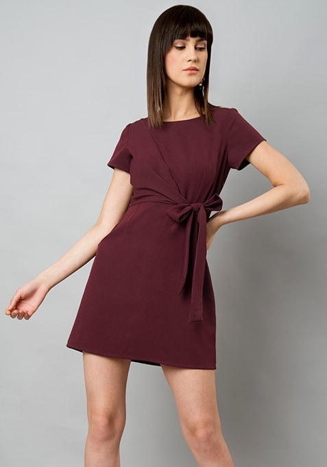 Wine Belted Drape Shift Dress