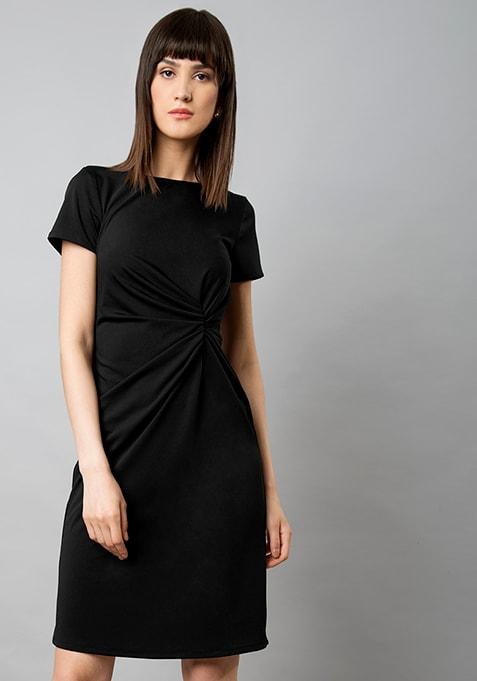 CLASSICS Draped Waist Dress - Black
