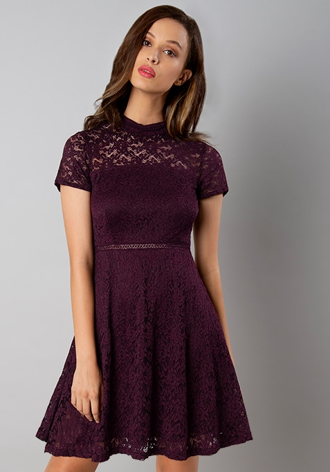Wine High Neck Lace Skater Dress