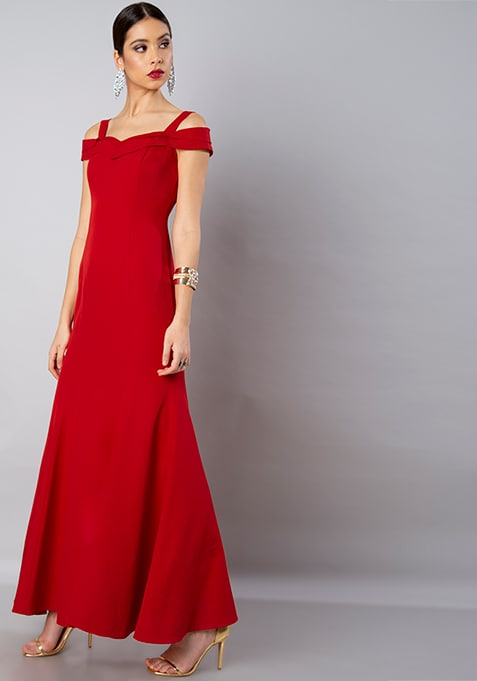 Red Strappy Cold Shoulder Gown