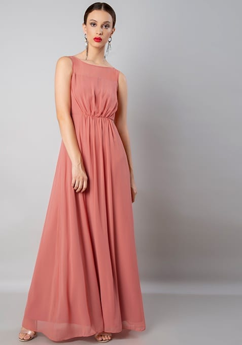 Dusty Pink Gathered Gown