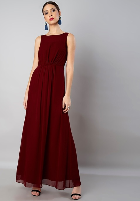 Maroon Gathered Gown