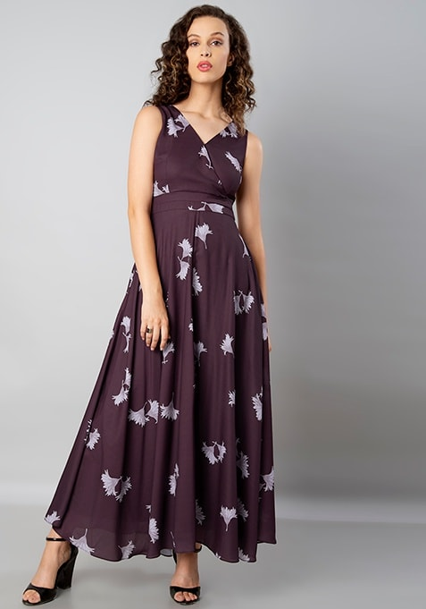Wine Floral V-Neck Maxi Dress