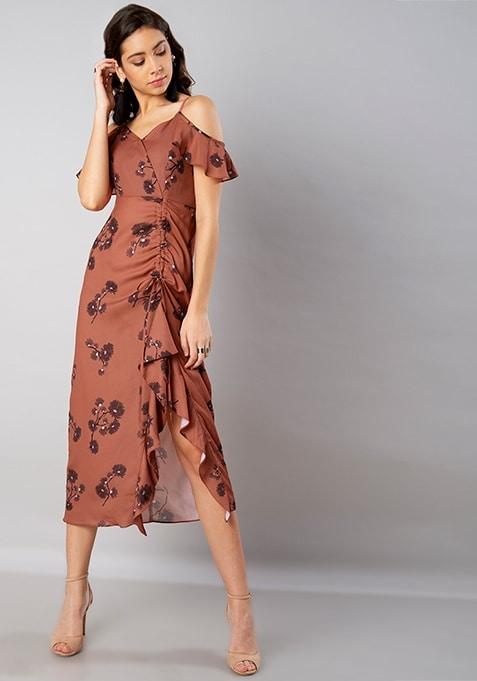 Rust Floral Cold Shoulder Ruched Midi Dress