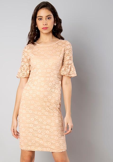 Nude Lace Bodycon Midi Dress
