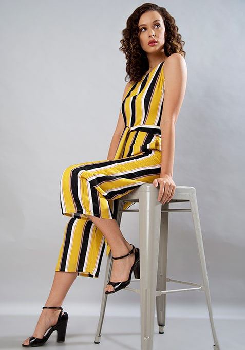 e14fd513b4aa Buy Women Yellow Striped Belted Jumpsuit - Jumpsuits Online India ...