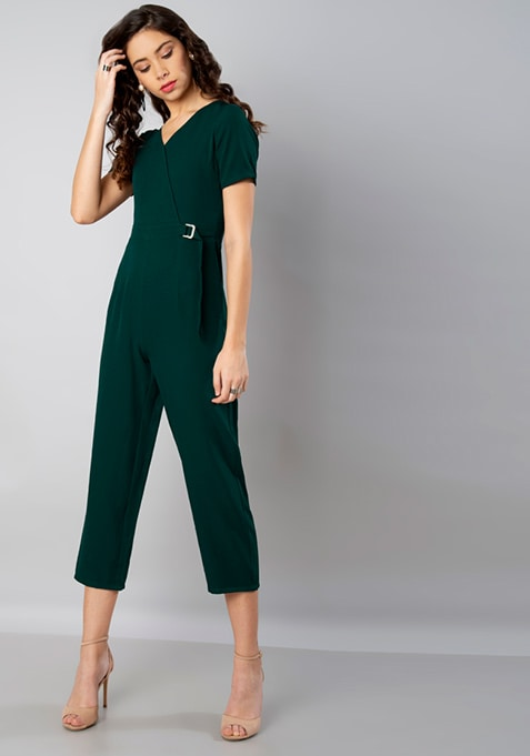 Teal Belted Wrap Front Jumpsuit