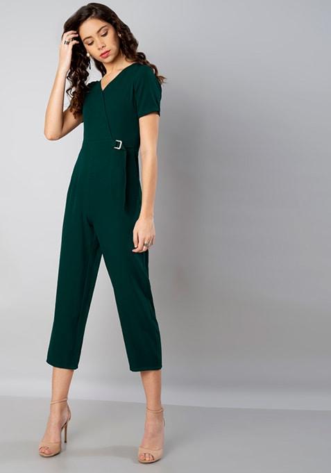 e46b0d951663 Buy Women Teal Belted Wrap Front Jumpsuit - Jumpsuits Online India ...