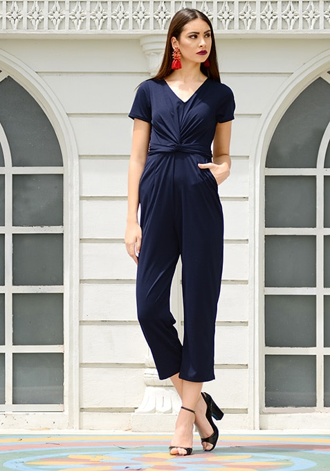 Navy Knotted Front Jumpsuit