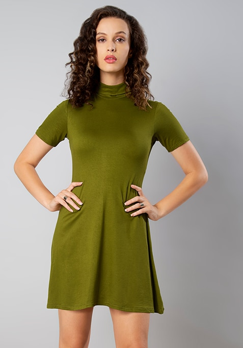 Olive High-Neck Skater Dress