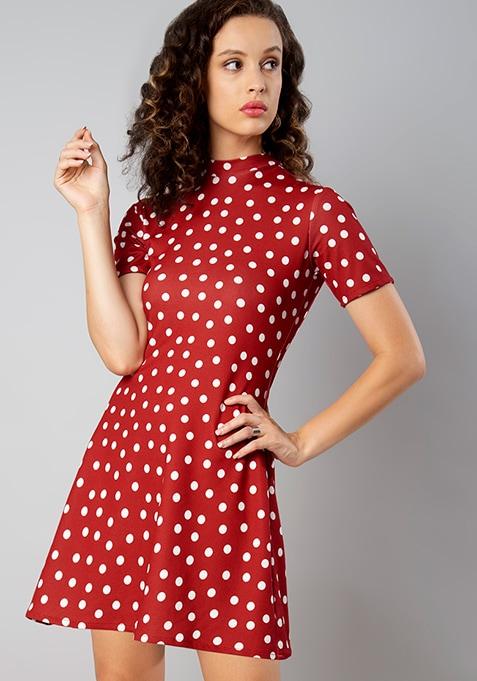 Red Polka Dot High Neck Skater Dress