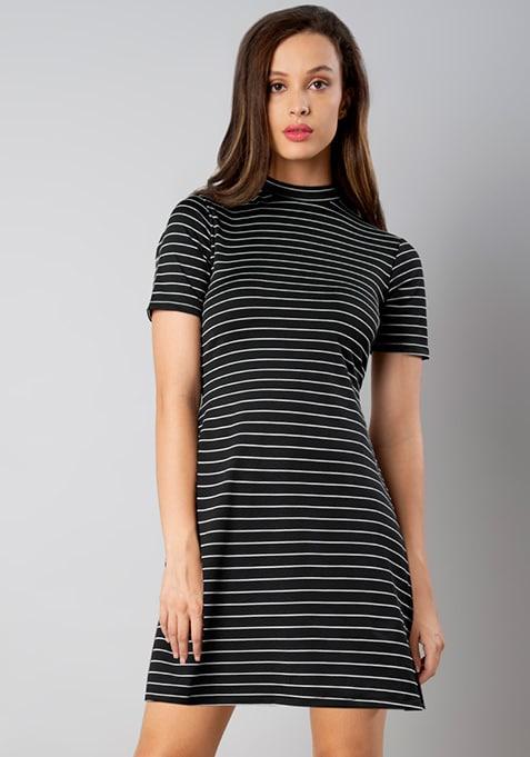 Black White Striped High Neck Skater Dress