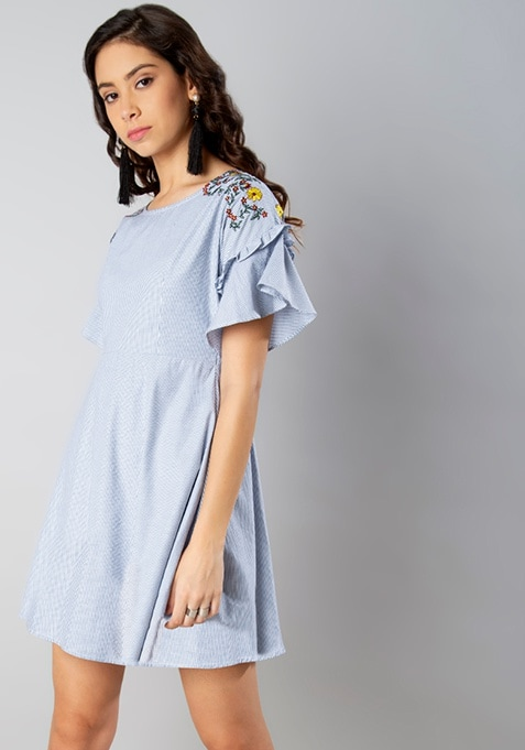 Blue Stripe Placement Embroidery Dress