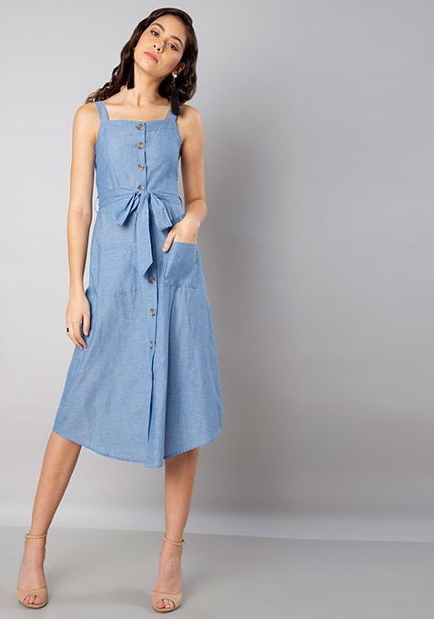 Blue Chambray Strappy Buttoned Midi Dress