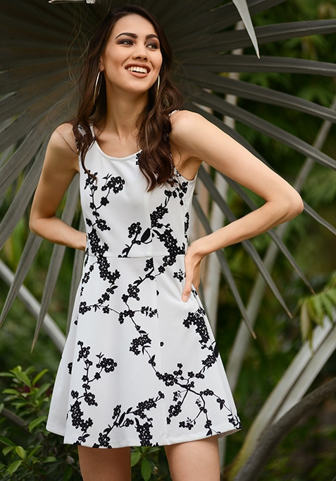 White Black Floral Skater Dress
