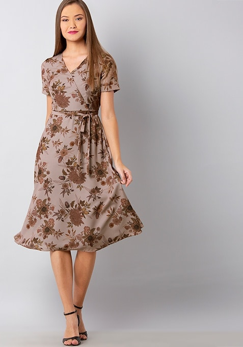 Brown Floral Wrap Midi Dress