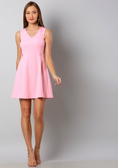 Pink Buttoned Skater Dress
